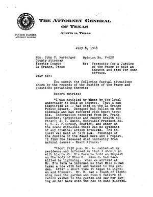 Primary view of object titled 'Texas Attorney General Opinion: V-625'.