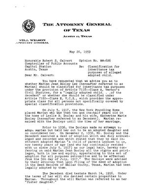 Primary view of object titled 'Texas Attorney General Opinion: V-626'.