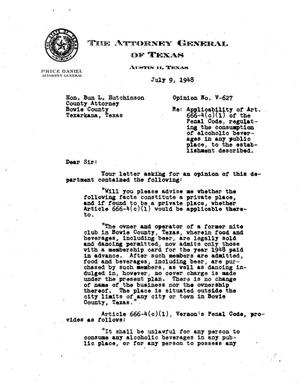 Primary view of object titled 'Texas Attorney General Opinion: V-627'.