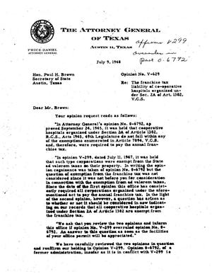 Primary view of object titled 'Texas Attorney General Opinion: V-629'.