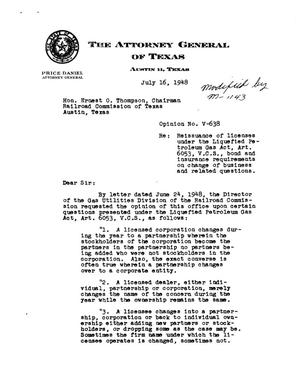 Primary view of object titled 'Texas Attorney General Opinion: V-638'.
