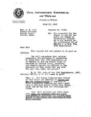Primary view of object titled 'Texas Attorney General Opinion: V-641'.