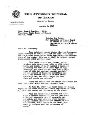Primary view of object titled 'Texas Attorney General Opinion: V-646'.