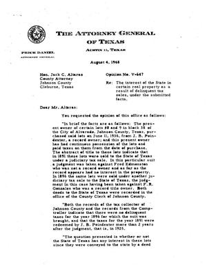 Primary view of object titled 'Texas Attorney General Opinion: V-647'.