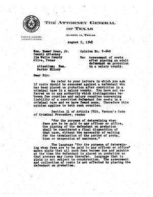 Primary view of object titled 'Texas Attorney General Opinion: V-649'.