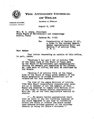 Primary view of object titled 'Texas Attorney General Opinion: V-651'.