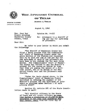 Primary view of object titled 'Texas Attorney General Opinion: V-655'.