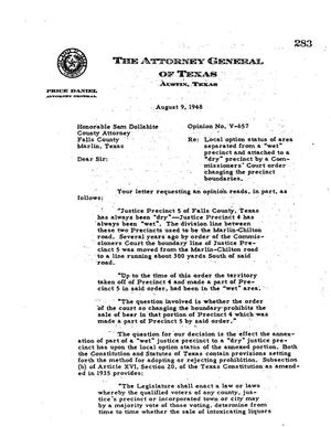 Primary view of object titled 'Texas Attorney General Opinion: V-657'.