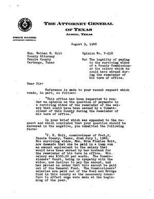 Primary view of object titled 'Texas Attorney General Opinion: V-658'.