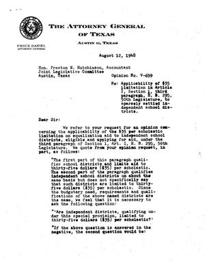 Primary view of object titled 'Texas Attorney General Opinion: V-659'.