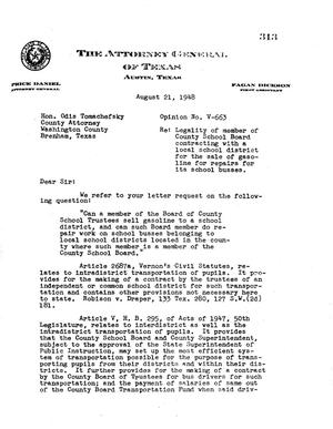 Primary view of object titled 'Texas Attorney General Opinion: V-663'.