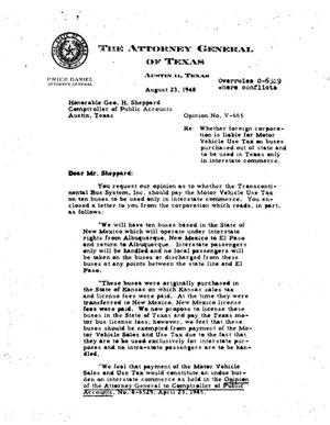 Primary view of object titled 'Texas Attorney General Opinion: V-665'.