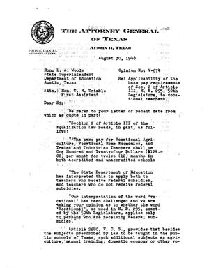 Primary view of object titled 'Texas Attorney General Opinion: V-674'.
