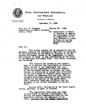 Primary view of object titled 'Texas Attorney General Opinion: V-692'.