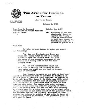 Primary view of object titled 'Texas Attorney General Opinion: V-695'.