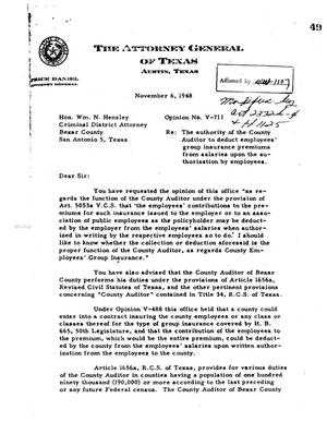 Primary view of object titled 'Texas Attorney General Opinion: V-711'.