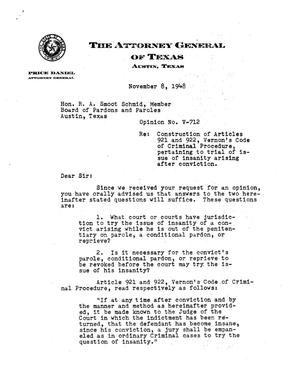 Primary view of object titled 'Texas Attorney General Opinion: V-712'.
