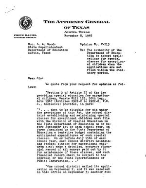 Primary view of object titled 'Texas Attorney General Opinion: V-713'.