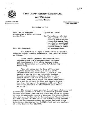 Primary view of object titled 'Texas Attorney General Opinion: V-732'.