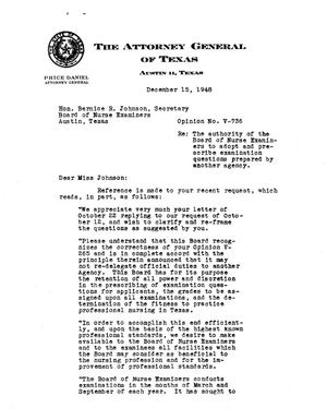 Primary view of object titled 'Texas Attorney General Opinion: V-736'.