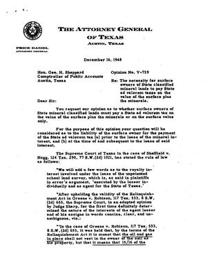 Primary view of object titled 'Texas Attorney General Opinion: V-739'.
