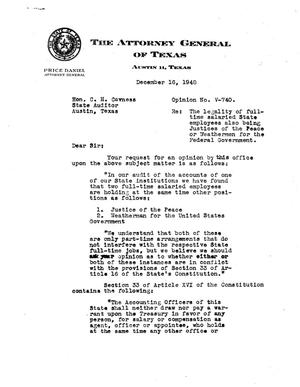 Primary view of object titled 'Texas Attorney General Opinion: V-740'.