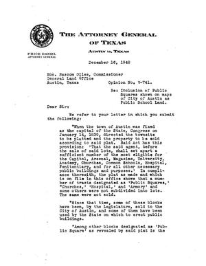 Primary view of object titled 'Texas Attorney General Opinion: V-741'.