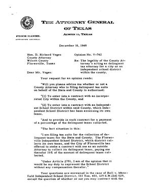 Primary view of object titled 'Texas Attorney General Opinion: V-742'.