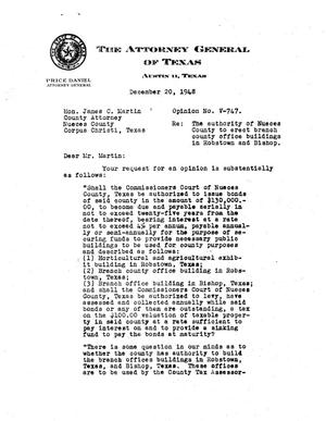 Primary view of object titled 'Texas Attorney General Opinion: V-747'.