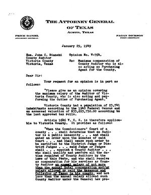Primary view of object titled 'Texas Attorney General Opinion: V-764'.