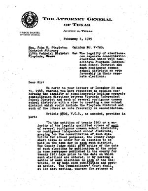 Primary view of object titled 'Texas Attorney General Opinion: V-766'.