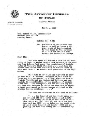 Primary view of object titled 'Texas Attorney General Opinion: V-782'.
