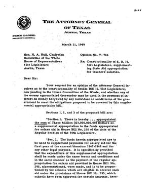 Primary view of object titled 'Texas Attorney General Opinion: V-784'.