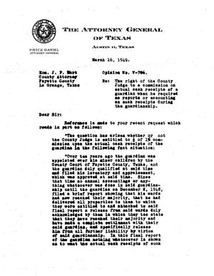 Primary view of object titled 'Texas Attorney General Opinion: V-786'.