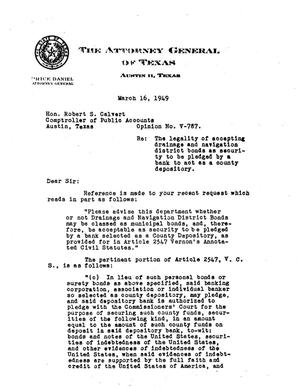 Primary view of object titled 'Texas Attorney General Opinion: V-787'.