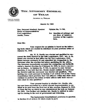 Primary view of object titled 'Texas Attorney General Opinion: V-788'.