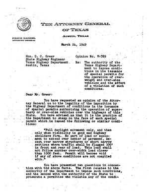 Primary view of object titled 'Texas Attorney General Opinion: V-789'.