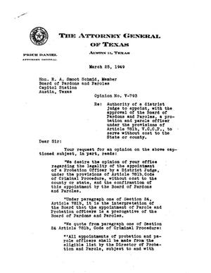 Primary view of object titled 'Texas Attorney General Opinion: V-793'.