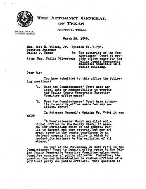 Primary view of object titled 'Texas Attorney General Opinion: V-796'.