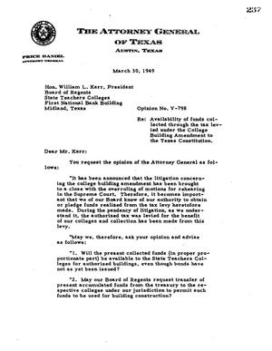 Primary view of object titled 'Texas Attorney General Opinion: V-798'.