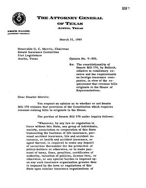 Primary view of object titled 'Texas Attorney General Opinion: V-800'.