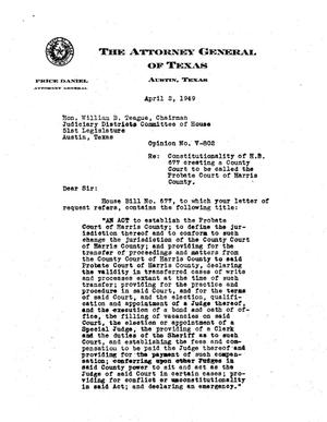 Primary view of object titled 'Texas Attorney General Opinion: V-802'.