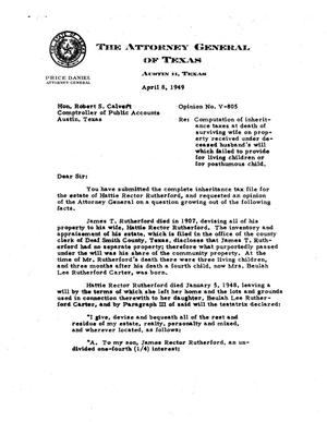 Primary view of object titled 'Texas Attorney General Opinion: V-805'.