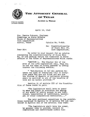 Primary view of object titled 'Texas Attorney General Opinion: V-809'.