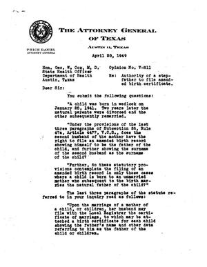 Primary view of object titled 'Texas Attorney General Opinion: V-811'.