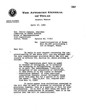 Primary view of object titled 'Texas Attorney General Opinion: V-812'.