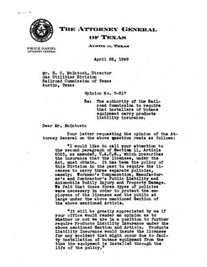 Primary view of object titled 'Texas Attorney General Opinion: V-817'.