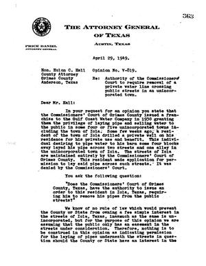 Primary view of object titled 'Texas Attorney General Opinion: V-819'.