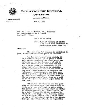 Primary view of object titled 'Texas Attorney General Opinion: V-823'.