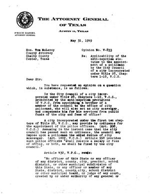 Primary view of object titled 'Texas Attorney General Opinion: V-833'.